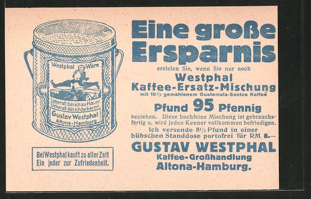 ak hamburg altona reklame f r westphal kaffee ersatz kleine g rtnerstrasse 100 108 nr 6763861. Black Bedroom Furniture Sets. Home Design Ideas