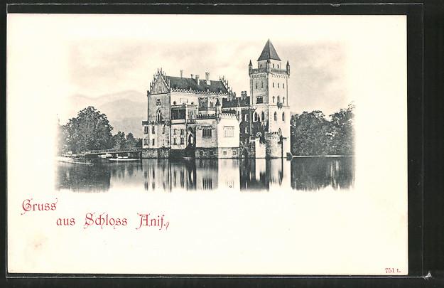 AK Anif, Blick zum Schloss