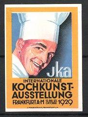 Reklamemarke Frankfurt / Main, IKA Int. Kochkunst-Ausstellung 1929, Koch