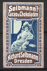 Reklamemarke Dresden, Selbmann's Kakao & Schokolade, elegante Dame im Zugabteil