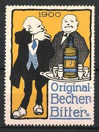 Reklamemarke Original Becher-Bitter, Männer & Flasche Bitter-Likör auf Tablett