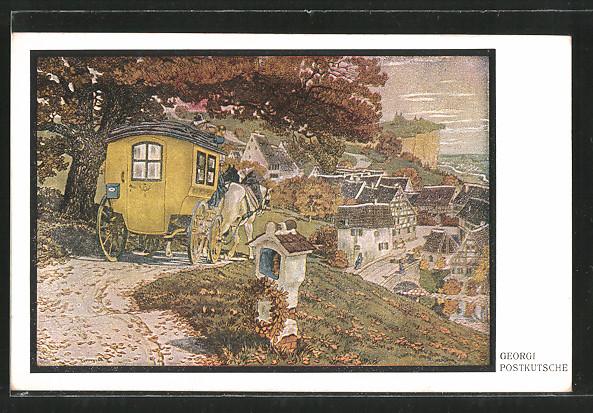 Künstler-AK Walter Georgi: Ortspartie mit Postkutsche