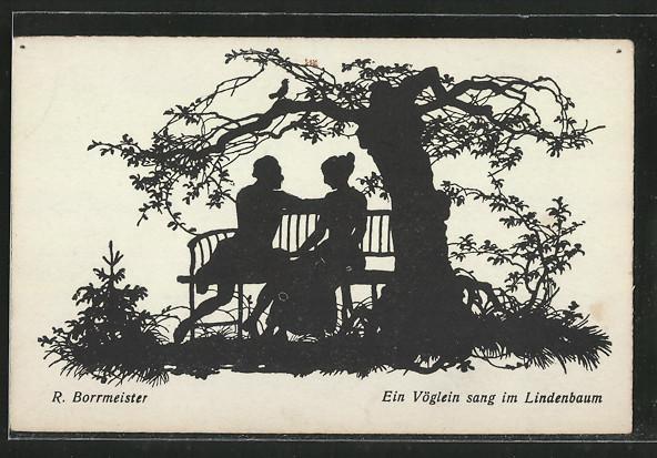 Künstler-AK R. Borrmeister: Ein Vöglein sang im Lindenbaum, Liebespaar, Silhouette