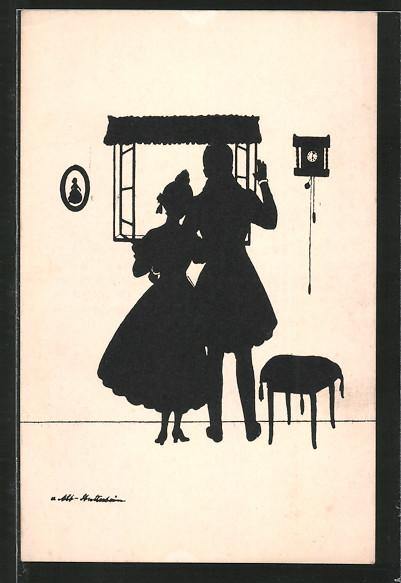 Künstler-AK Ov. Alt-Stutterheim: Paar am Fenster, Silhouette
