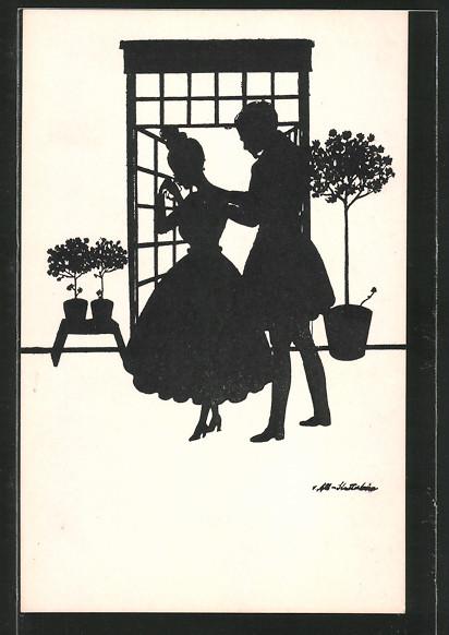 Künstler-AK Ov. Alt-Stutterheim: Paar an Gartentür, Silhouette