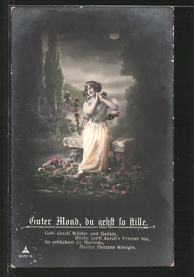 Foto-AK Photochemie Berlin NR 9020-6: Guter Mond, du gehst so stille, Frau im Mondschein