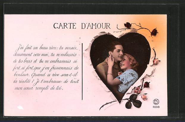 Foto-AK P.C.Paris: Soldat Arm in Arm mit seiner Liebsten, Carte d'Amour