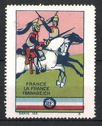 Reklamemarke Militär Frankreich, Kavalleristen zu Pferd