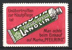 Reklamemarke Lanolin Toilette-Cream, Marke Pfeilring, Tube Cremé