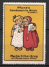 Reklamemarke Dresden, Pfunds Condensirte Milch, Marke Silberkrug, Mädchen naschen Milch