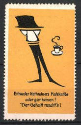 Reklamemarke Kathreiners Malzkaffee, Figur & Tasse Kaffee