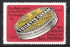 Reklamemarke Martinikenfelde, Lanolin Toilette-Cream, Creme-Dose