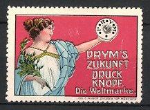 Reklamemarke Prym's Zukunft Druckknopf, Göttin mit Lorbeerzweig & Druckknopf