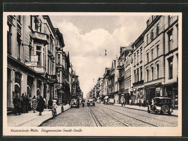AK Bremerhaven, Strassenleben, Autos und Geschäfte auf der Bürgermeister-Smidt-Strasse