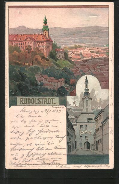 Künstler-AK Albert Stagura: Rudolstadt, Panorama und Rathskeller