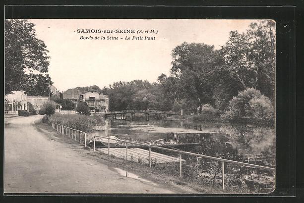 AK Samois-sur-Seine, bords de la Seine, le petit pont