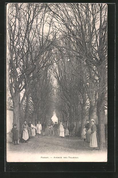 AK Pussay, avenue des Tilleuls, Kinder auf Strasse