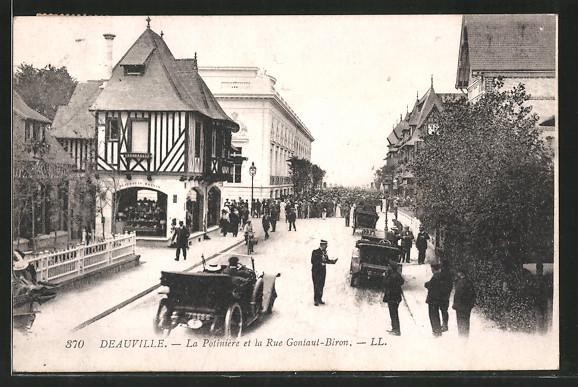 AK Deauville, la potiniére et la rue Gontaut-Biron