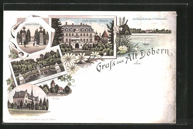 Lithographie Altdöbern, Krankenhaus, Französische Parkanlage, Südseite des Gräfl. Schlosses
