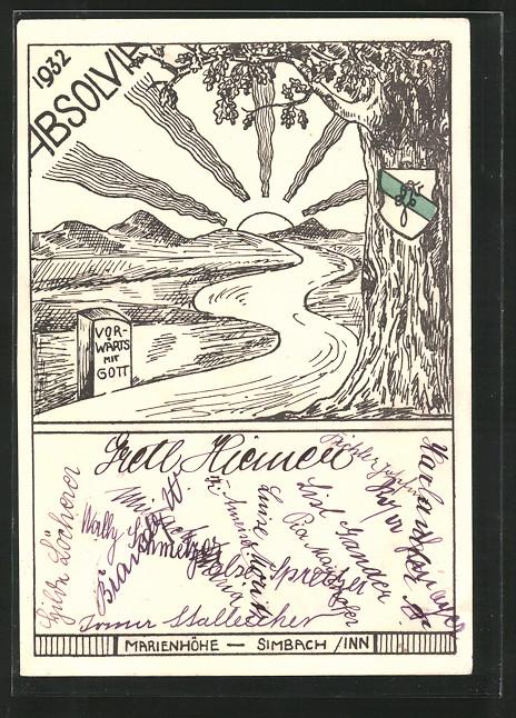 AK Simbach, Absolvia 1932, Wappen an einem Baum bei der Marienhöhe