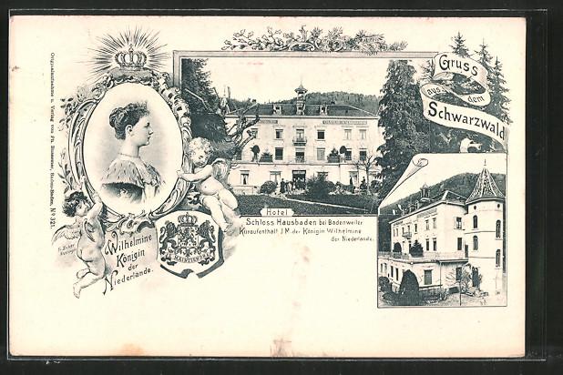 AK Badenweiler, Hotel Schloss Hausbaden, Kuraufenthalt der Königin Wilhelmine von den Niederlanden