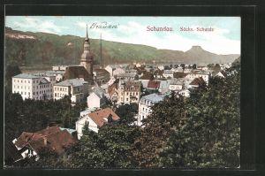 AK Schandau, Blick über die Dächer der Ortschaft