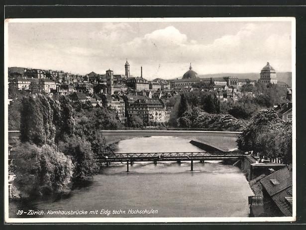 AK Zürich, Kornhausbrücke mit Eidg. techn. Hochschulen