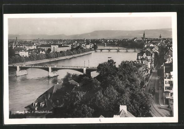 AK Basel, die 3 Rheinbrücken