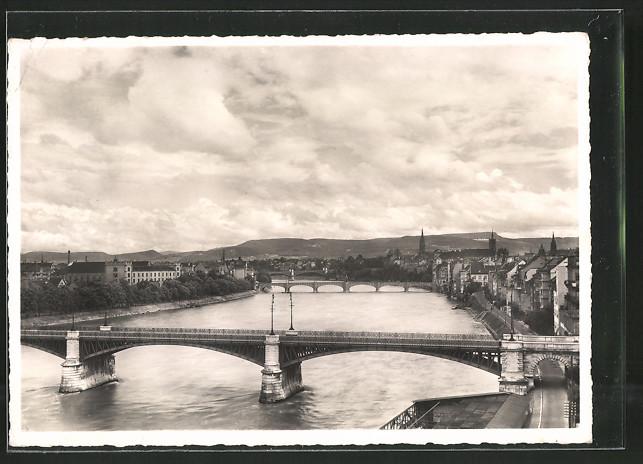 AK Basel, Blick über die 3 Rheinbrücken