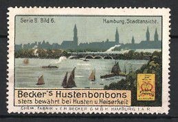 Reklamemarke Hamburg, Becker's Hustenbonbons, Chemische Fabrik v. E.R. Becker GmbH, Blick über Hamburg