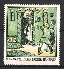 Reklamemarke Hannover, Keks-Fabrik H. Bahlsen, Hexe öffnet Hänsel und Gretel die Tür zum Lebkuchenhaus
