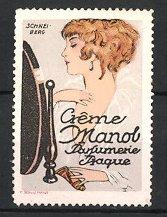 Künstler-Reklamemarke Schneiberg, Prague - Prag, Crême Manol Parfumerie, hübsche Frau am Schminkspiegel