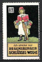 Reklamemarke Regensburg, Regensburger Schlüssel-Wolle, Mädchen mit Strickwolle & Regenschirm, schwarz
