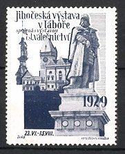Reklamemarke Jihoceska vystava v Labore 1929, Denkmal mit Statue, Gebäudeansicht