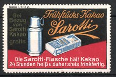 Reklamemarke Sarotti Frühstücks Kakao Thermoskanne Packung Kakao