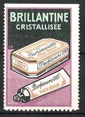 Künstler-Reklamemarke Michaelis, Paris-Berlin, Brillantine Cristallisée, Parfumerie 8185, Packung & Creme-Tube
