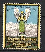 Reklamemarke Freiberg, Erzgebirgs Ausstellung 1912, Blick zur Stadt, Christbaumschmuck