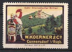 Reklamemarke Cunnersdorf i. Rsgb., Echt Stonsdorfer Bitter, W. Koerner & Co., Zwerg mit Flasche Bitter-Likör
