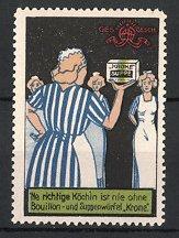 Reklamemarke Krone Bouillon - und Suppenwürfel, Dienstmädchen mit Suppenwürfel