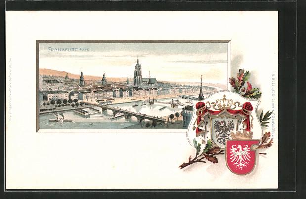 Passepartout-Lithographie Frankfurt, Gesamtansicht aus der Vogelschau, Wappen