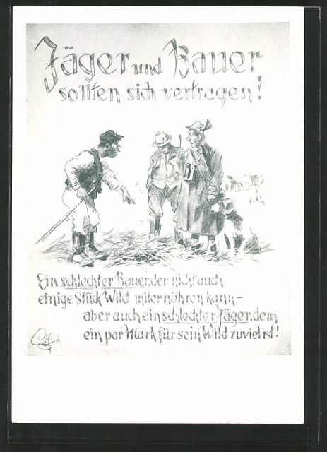 Künstler Ak Heinz Geilfus Jäger Und Bauer Sollten Sich Vertragen