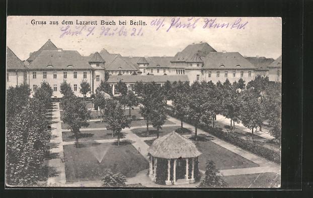 AK Berlin-Buch, Gartenanlage im Lazarett Buch