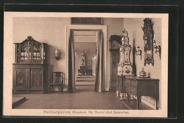 ak hamburg st georg museum f r kunst gewerbe raum 19 rokokozeit nr 6793070 oldthing. Black Bedroom Furniture Sets. Home Design Ideas