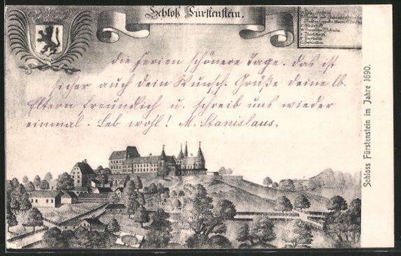 AK Fürstenstein, Schloss Fürstenstein im Jahre 1690, Wappen