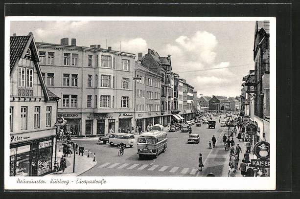 AK Neumünster, Omnibus am Kuhberg Ecke Europastrasse