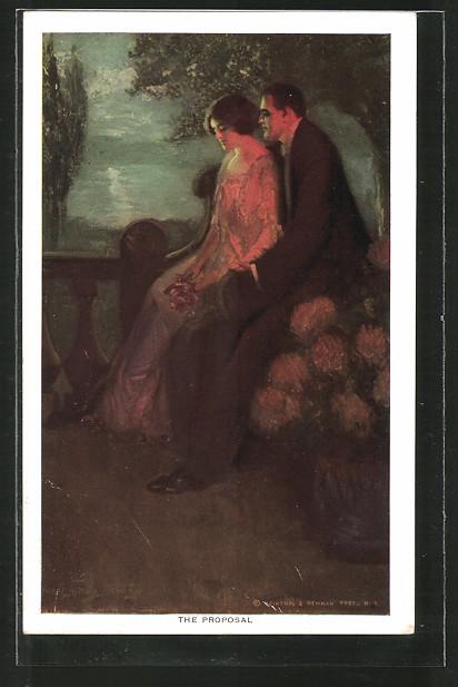 Künstler-AK Alfred James Dewey: The Proposal, verliebtes Paar auf einem Balkon