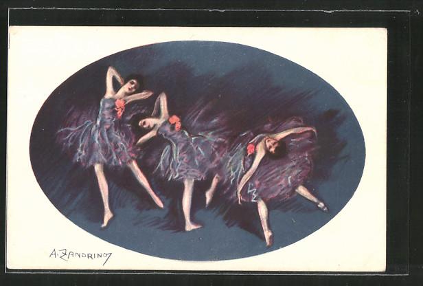 Künstler-AK A. Zandrino: Tanzende Ballerinas