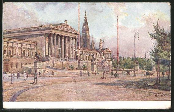 Künstler-AK Erwin Pendl: Wien, Parlament