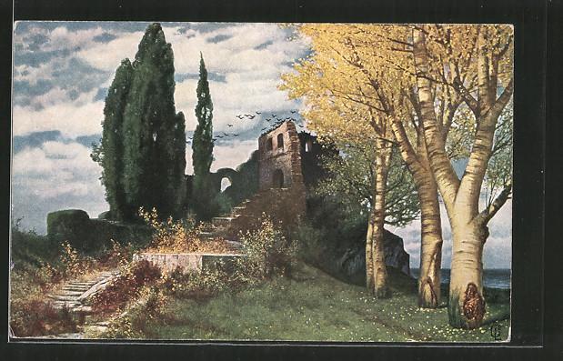 Künstler-AK Eduard Rüdisühli: Verlassene Sätte, Ruinenpartie
