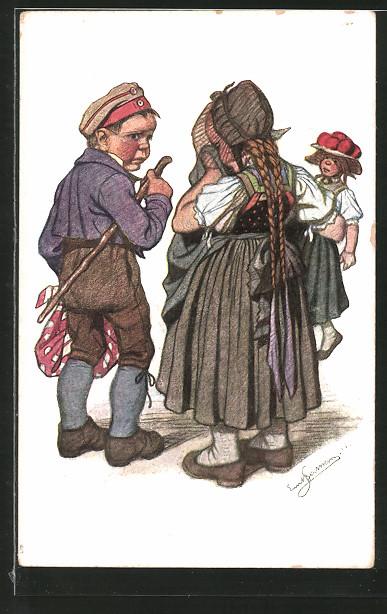 Künstler-AK Emil Beithan: Schwarzwald-Trachten, kleines Paar beim Abschied